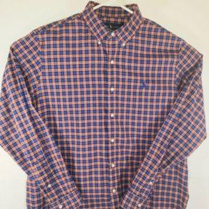 Ralph Lauren Orange And Blue Plaid Shirt Size XL